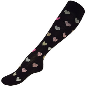 Hjärtan i rosa och brun mönstrad kompressionsstrumpa  16-18 mmHg, 1-pack