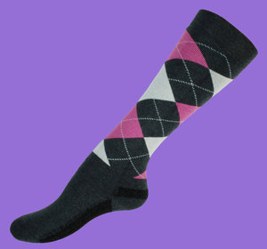 Pink argyle wool knee socks