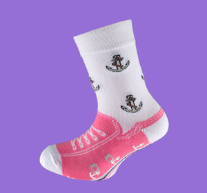 Pink anchor non slip sock