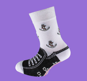 Black anchor non slip sock
