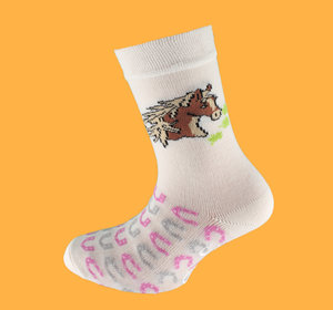 White horse non slip sock
