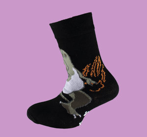 Black dino non slip sock