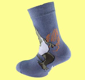 Blue dino non slip sock