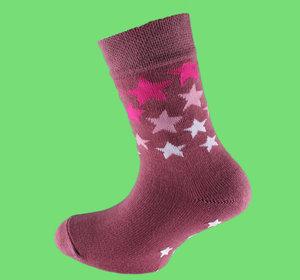 Burgundy stars non slip sock