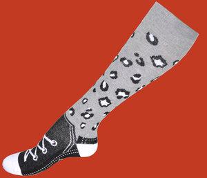 Grå leopard skor mönstrad kompressionsstrumpa 16-18 mmHg, 1-pack