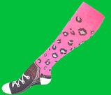 Rosa leopard skor mönstrad kompressionsstrumpa 16-18 mmHg, 1-pack