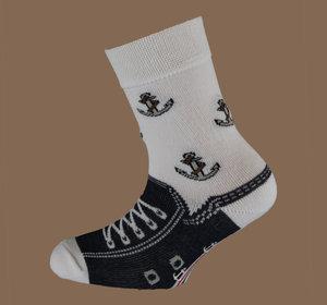 Dark blue anchor non slip sock