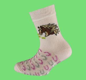 Pink horse non slip sock