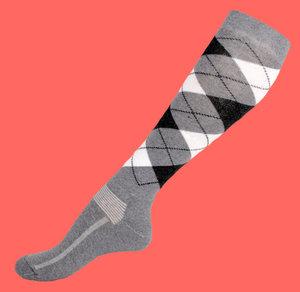 Grey argyle knee socks